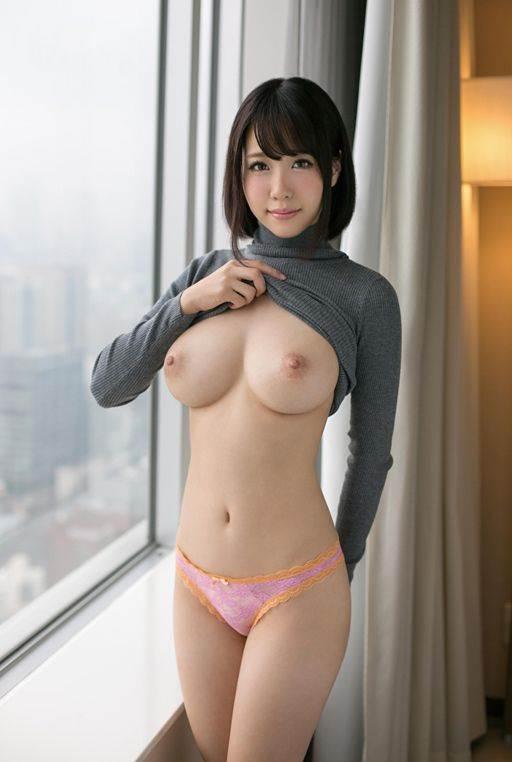 美巨乳_シャツ捲り上げ_神乳エロ画像13