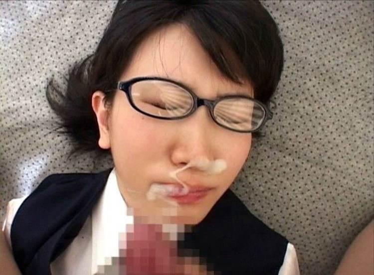 メガネ_ぶっかけ_顔射エロ画像04