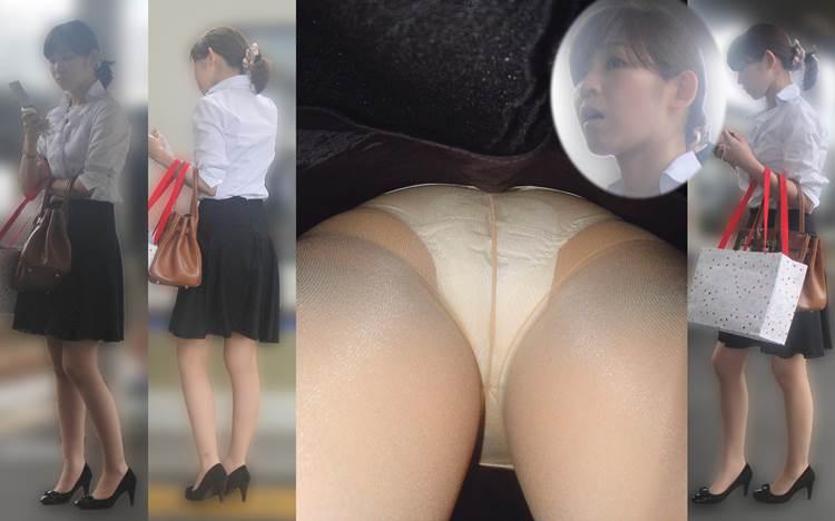 OL_逆さ撮り_白系パンツ_盗撮画像05