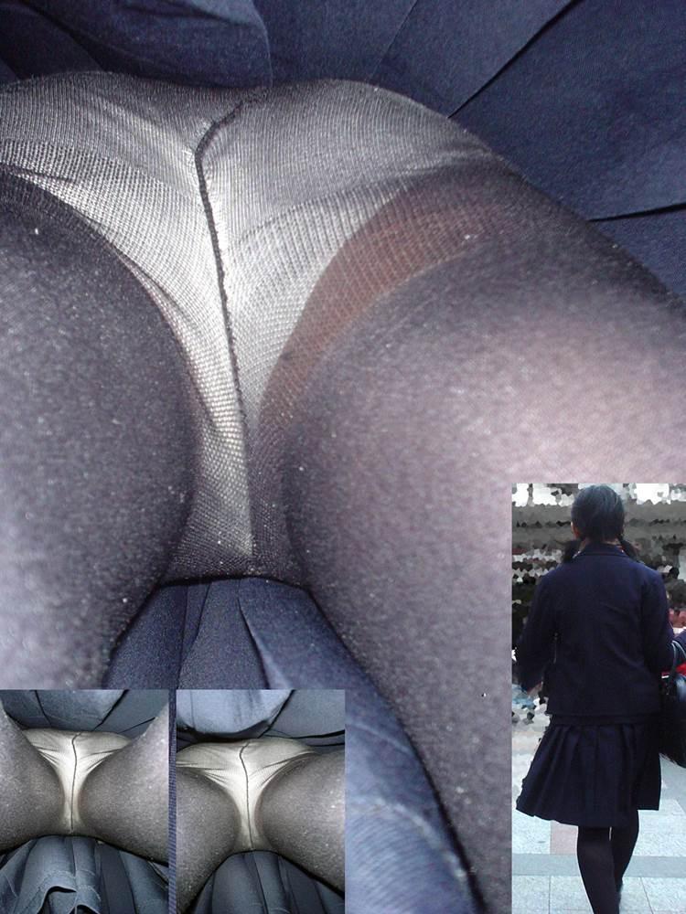 ツインテールに黒タイツ履いたJKを逆さ撮りしたエロ画像