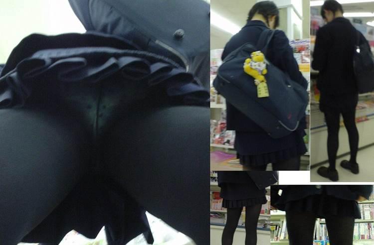水玉模様が可愛い制服JKを逆さ撮りしたエロ画像