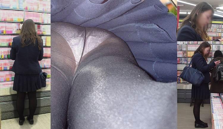 インテリなメガネが似合う黒パンストJKを逆さ撮りしたエロ画像