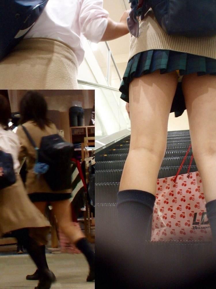生理のシミにも見える白系パンツの女子高生