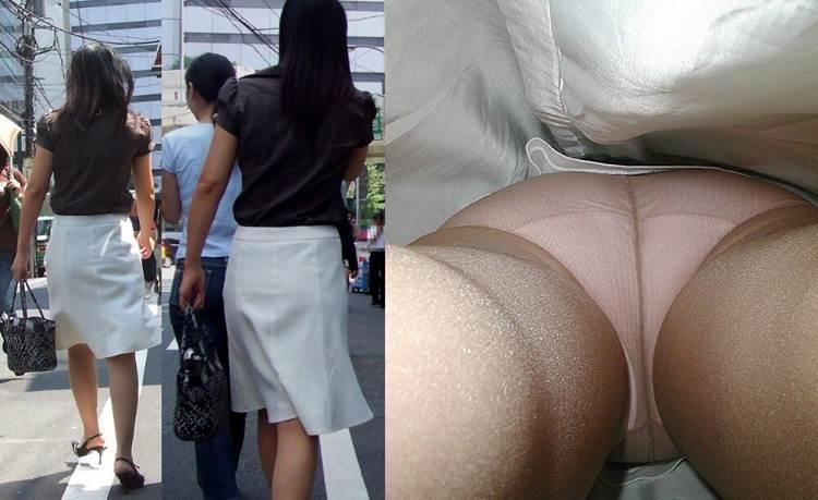 ナイロンストッキングにフルバックパンツの女性を逆さ撮り
