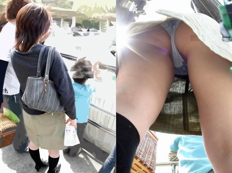 子供と動物園を楽しむ若そうなママの食い込みパンツを逆さ撮り