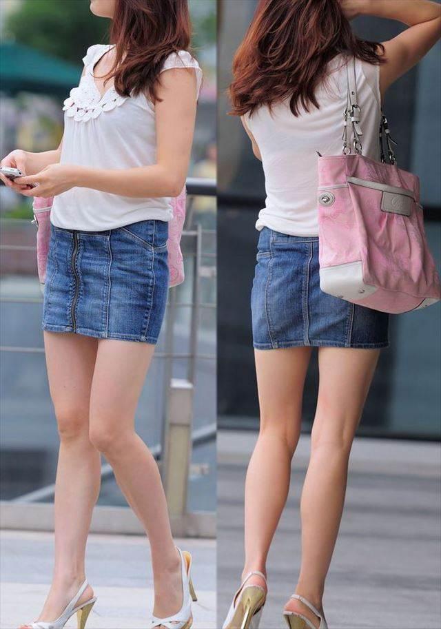 デニムスカート美脚素人を前面と背後撮りした街撮り画像