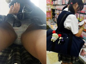 【JK逆さ撮り盗撮エロ画像】JSが履きそうな綿製の柄パンツを履いた女子校生たちを街中でクロッチ接写撮りww