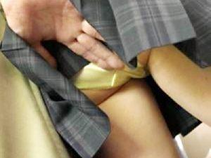 【JK痴漢エロ画像】制服姿を見てムラムラ…満員の電車やバス内で女子校生の下着内に指を入れる決定的瞬間ww