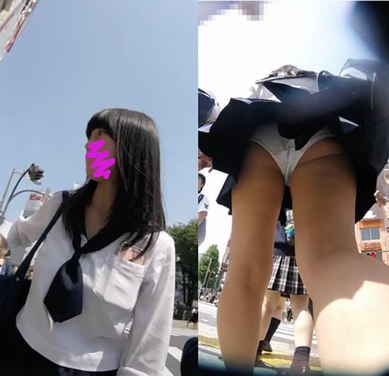 JK_ミニスカート_綿パンツ_逆さ撮り_盗撮_エロ画像02