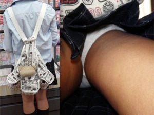 【綿パンツJK逆さ撮り盗撮エロ画像】発育して大人の体に近付いても小学生が履くような可愛い下着を愛用する女子校生ww