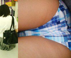 【チェック柄JK逆さ撮り盗撮エロ画像】体は大人でも下着は幼過ぎるチェック柄パンティーを履いた女子校生たちww