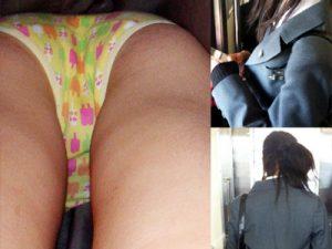 【綿パンツJK逆さ撮り盗撮エロ画像】柄付きの可愛い綿製下着を履いた制服姿の女子校生たちを街中でクロッチ接写撮りww