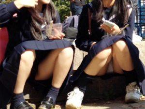 【JKパンチラ盗撮エロ画像】街中で体育座りした女子校生…必然的にクロッチ部分が丸見えな座りパンチラを隠し撮りww